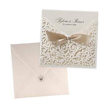 Einladungskarten Kate Zur Hochzeit Creme Lasercut Spitze 3 Stuck