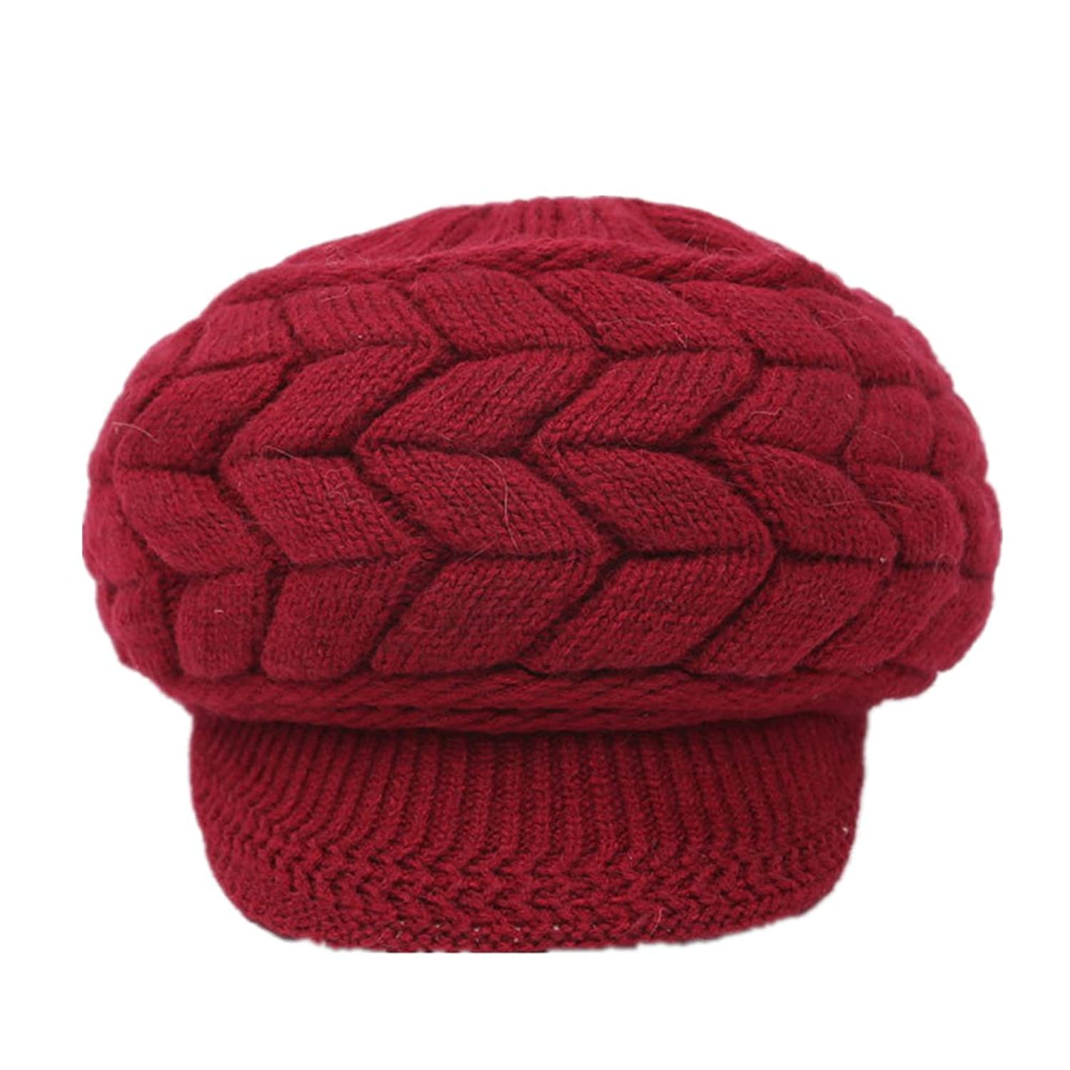 Home Prefer Women's Winter Hats with Visor Warm Thick Cable Knitted Visor Beanie