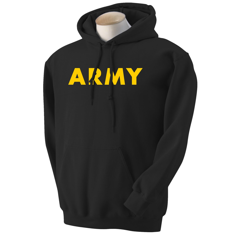 Nike jacket army - Black Army Hooded Sweatshirt With Gold Print