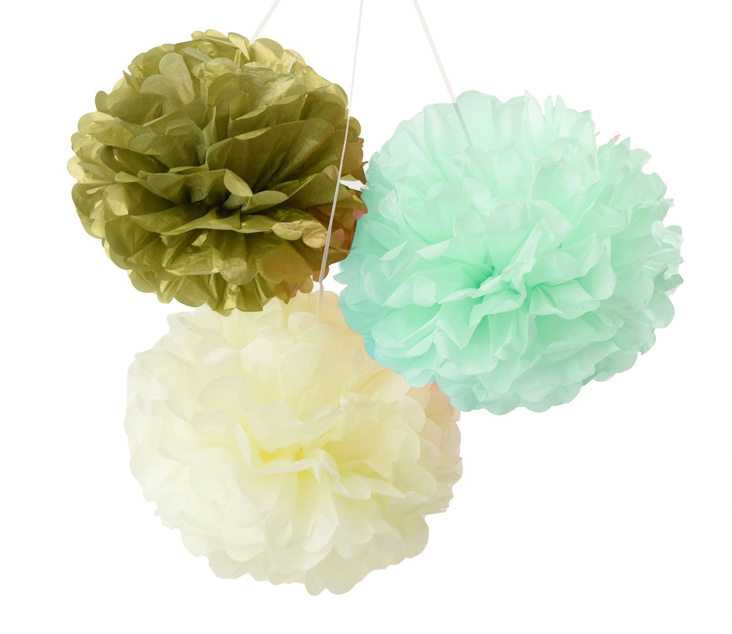 Hanging Tissue Paper Pom Pom 12pcs Coral Pink Cream 10inch 8inch