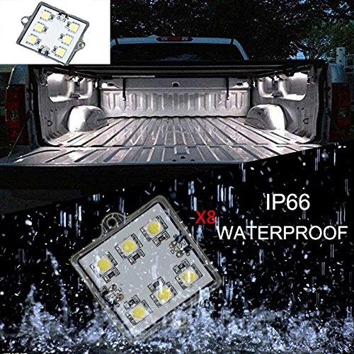 2 Piece Set Universal White LED Bed Rail Light Kit Truck Bed Light 48 Super Bright LED with Switch](Truck Bed Light Kit)