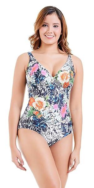 10d872fd45b0f5 EwigYou Damen Retro Monokini mit hohen Beinen Einteiliger Badeanzug mit Flachem  Bauch Große Größen BademodeEU 40