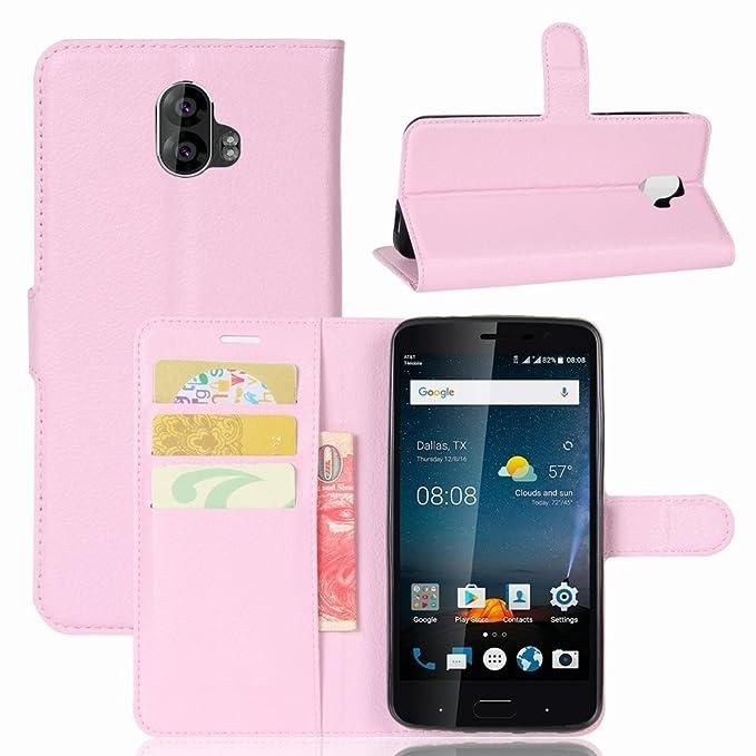 Guran® Funda de Cuero PU Para ZTE Blade V8 Pro Smartphone Función de Soporte con Ranura para Tarjetas Flip Case Cover Caso-rosa