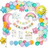 MMTX Birthday Party Decorations Girl Pastel, Birthday Party Supply Sky Theme with Happy Birthday Banner, Sun Moon Clouds Rainbow Sky Foil Balloon, Star Balloon for Gender Reveal Girls Boy Women