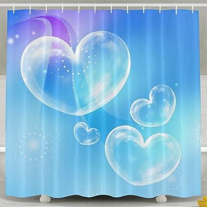 BESTSC Bath Curtain Love Heart Shape Bubble Sky Blue Shower Curtains