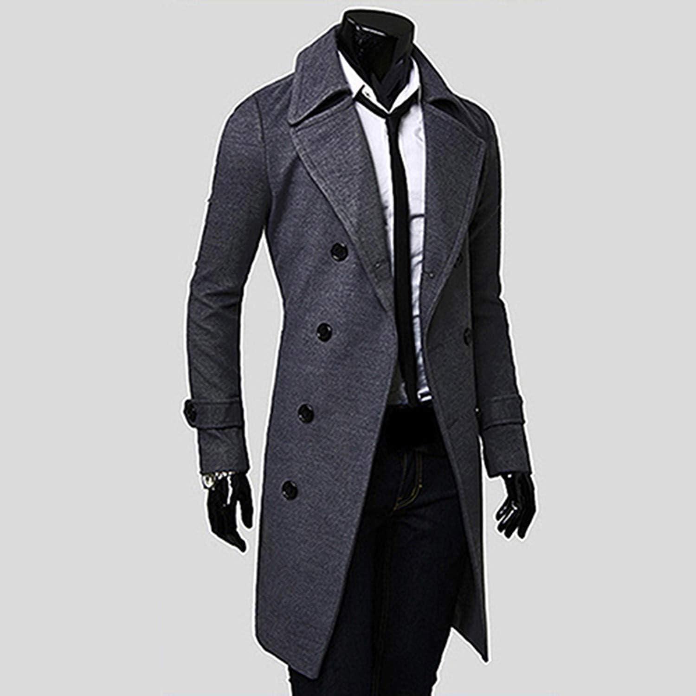 Men Stylish Slim Double Breasted Trench Coat Long Jacket Outwear Overcoat,Gray,XXXL
