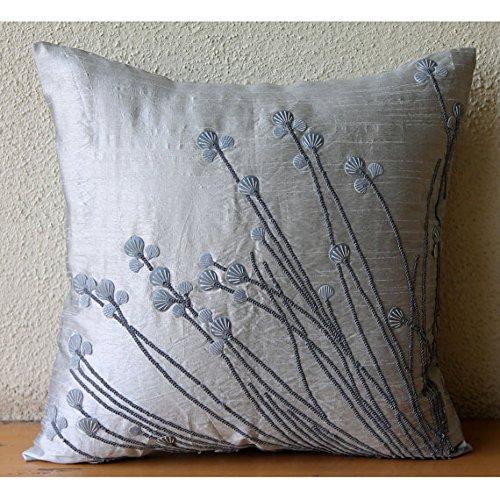 Designer Light Grey Pillow Shams, 3D Sea Sheel Sequins Pillow Shams, 24