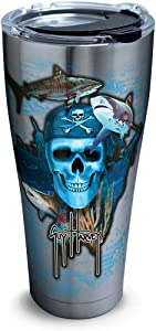 Tervis 1263311 Guy Harvey Pirate Skull Stainless Steel Tumbler with Clear and Black Hammer Lid 30oz, Silver