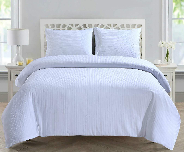 Linen Zone 300 Thread 100/% Egyptian Cotton Satin 1CM Stripe Hotel Quality 2 Standard Pillow Cases White