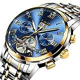 Mens Watches Stainless Steel Automatic Mechanical Watch Men Luxury Brand LIGE Fashion Waterproof Business Date Week Gold Blue Wrist Watch
