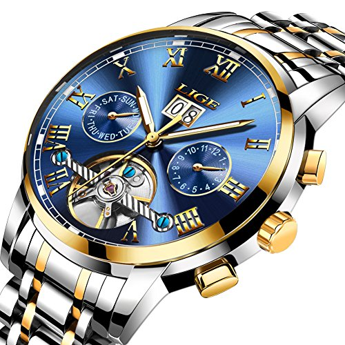 Mens Watches Stainless Steel Automatic Mechanical Watch Men Luxury Brand LIGE Fashion Waterproof Business Date Week Gold Blue Wrist Watch ()