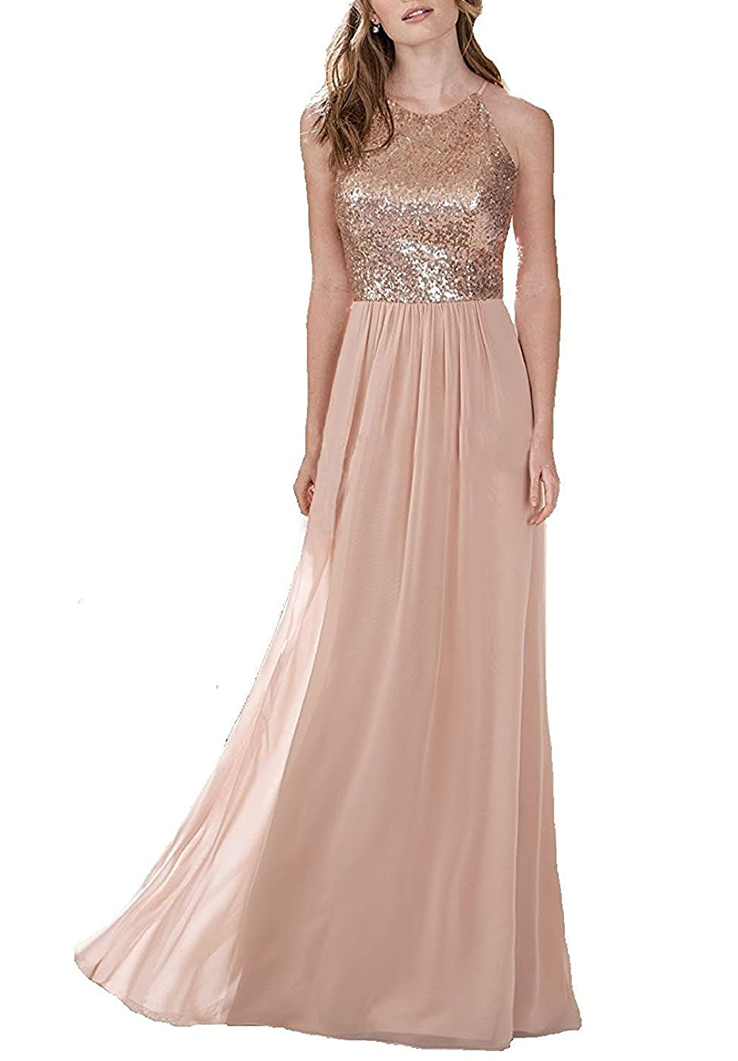 Rongstore Womens Long Bridesmaid Dress Sequin and Chiffon Prom Party Dresses RB014