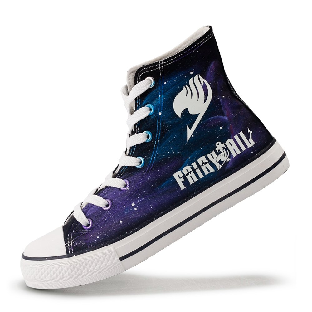 High Top Glow in Night Canvas Shoes Luminous Fairy Tail Anime Fans Casual Walking Shoes Adults Hand Painted Starry Night Effect Sneakers (7.5 B(M) US Women/6 D(M) US Men #38, Black T-ZII01HY)