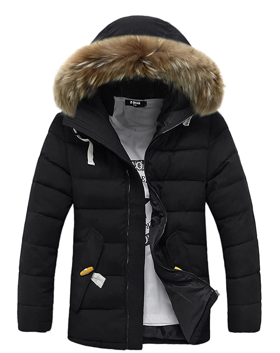 FOURSTEEDS Womens Faux Fur Hooded Warm Winter Outwear Parka Downs Puffer Coat HWA6006