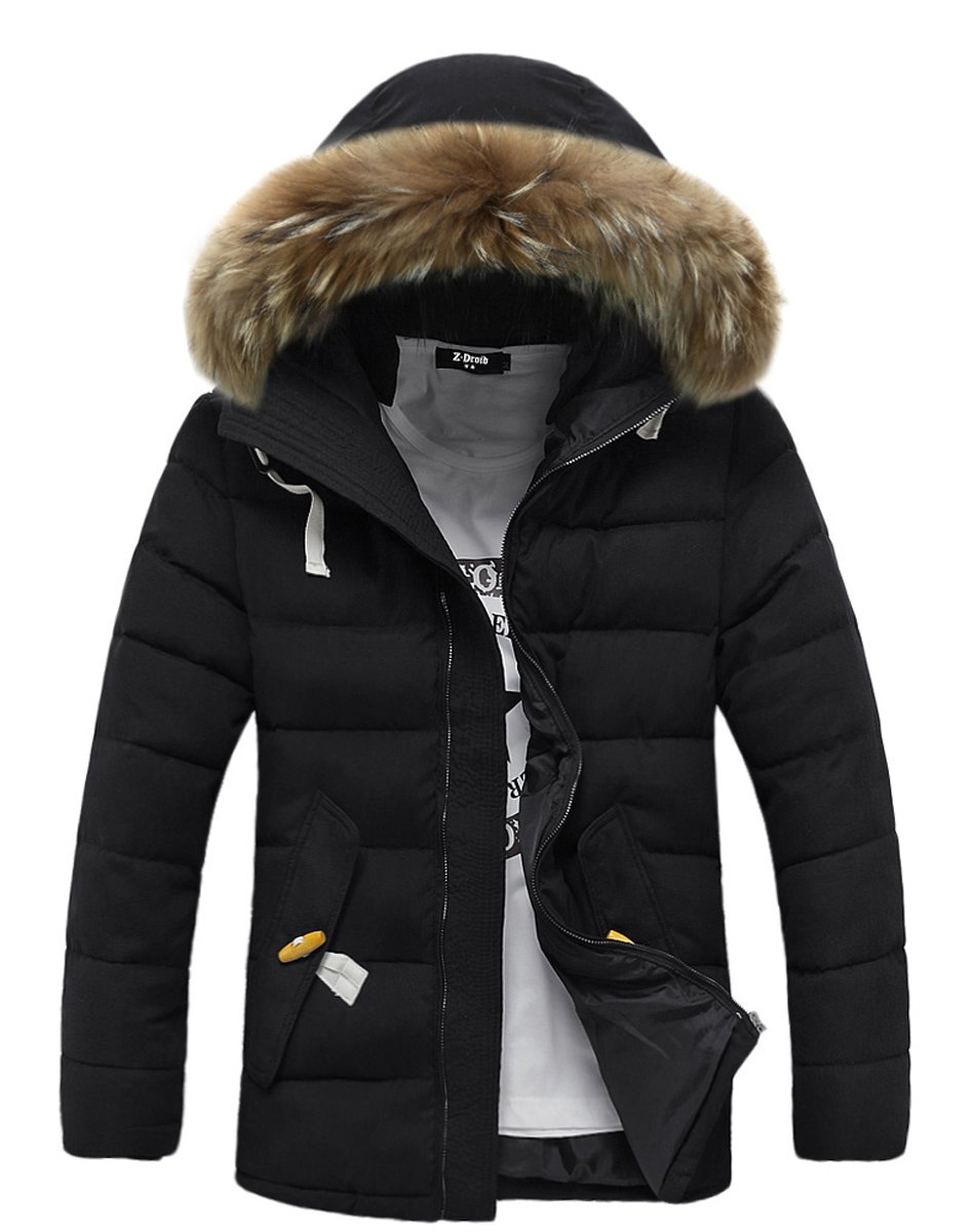 FOURSTEEDS Womens Light Weight Down Coat With Fur Hood Parka Puffer Jacket Coat With Pockets Black US 8/Tag Size M