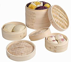 JTKDL 3 Tier Bamboo Steamer Basket Premium Non-Stick Food Steamer with Lid Natural Bamboo for Dim Sum Buns Rice Vegetables and Meat