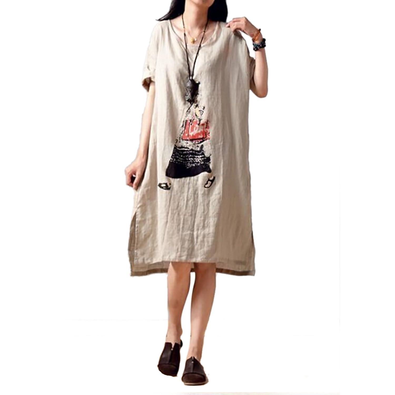 Tasso Damen Lose kurzärmeligen Baumwollkleid Druck großer Rock