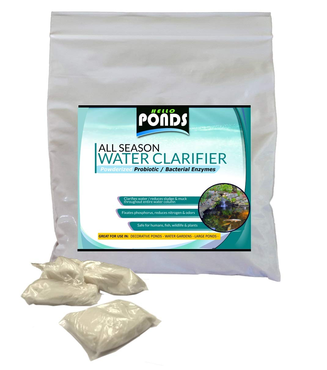 Pond Water Clarifier - Powder Bacteria for Small Ponds, Water Gardens & Koi Ponds (16 Packets)