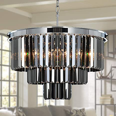 Meelighting W19 7 Luxury Smoke Crystal Chrome Chandelier Modern Chandeliers Lighting 8 Lights Pendant Ceiling Light Fixture 3 Tier For Dining Room