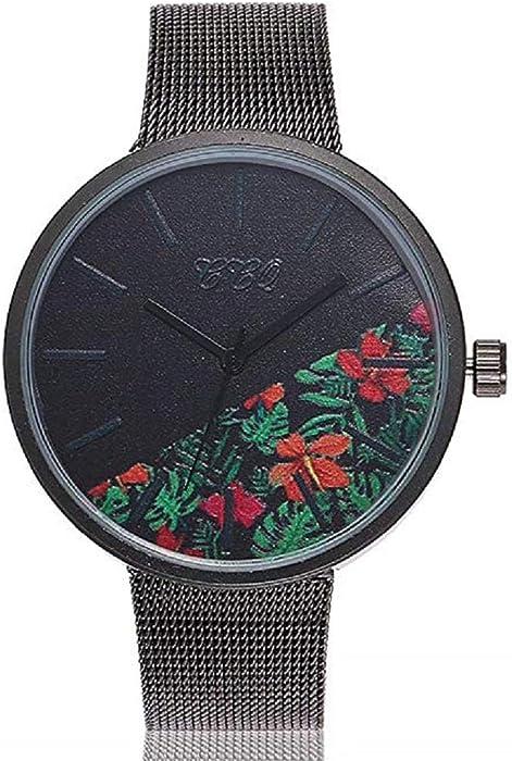 Reloj de Cuarzo para Mujer Flor de Moda Banda de Malla de Acero Inoxidable Elegante Casual Relojes analógicos