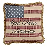 VHC Brands 25872 Flag Pillow w/God Bless America 12x12