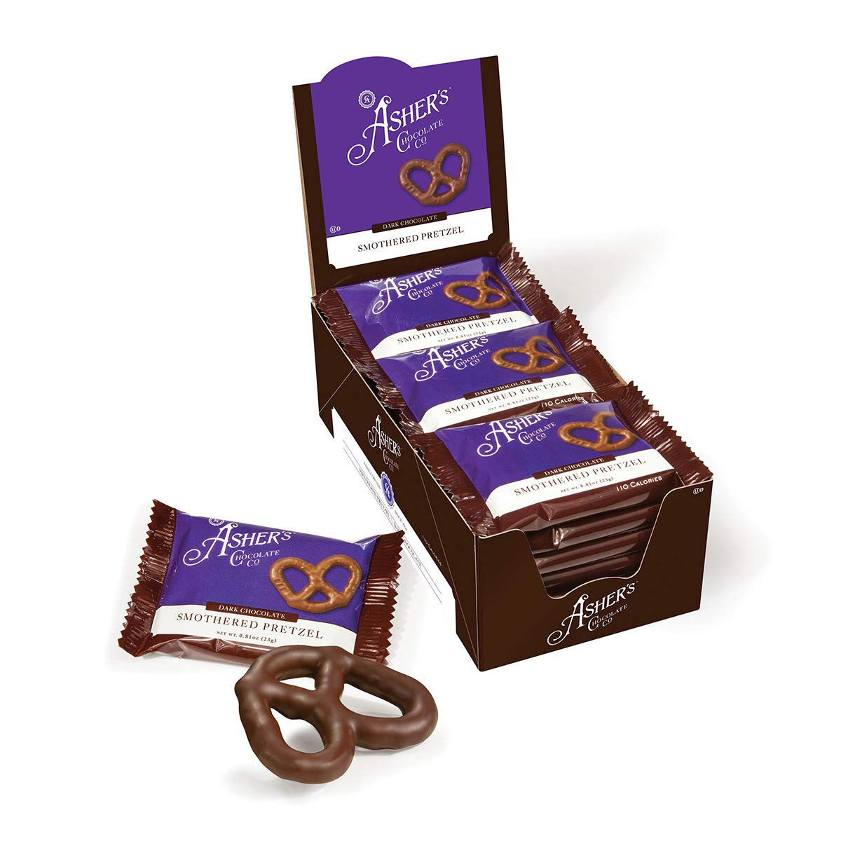 Asher's Chocolate, Chocolate Covered Pretzels, Gourmet Sweet and Salty Candy, Small Batches of Kosher Chocolate, Family Owned Since 1892 (18 count, Dark Chocolate)
