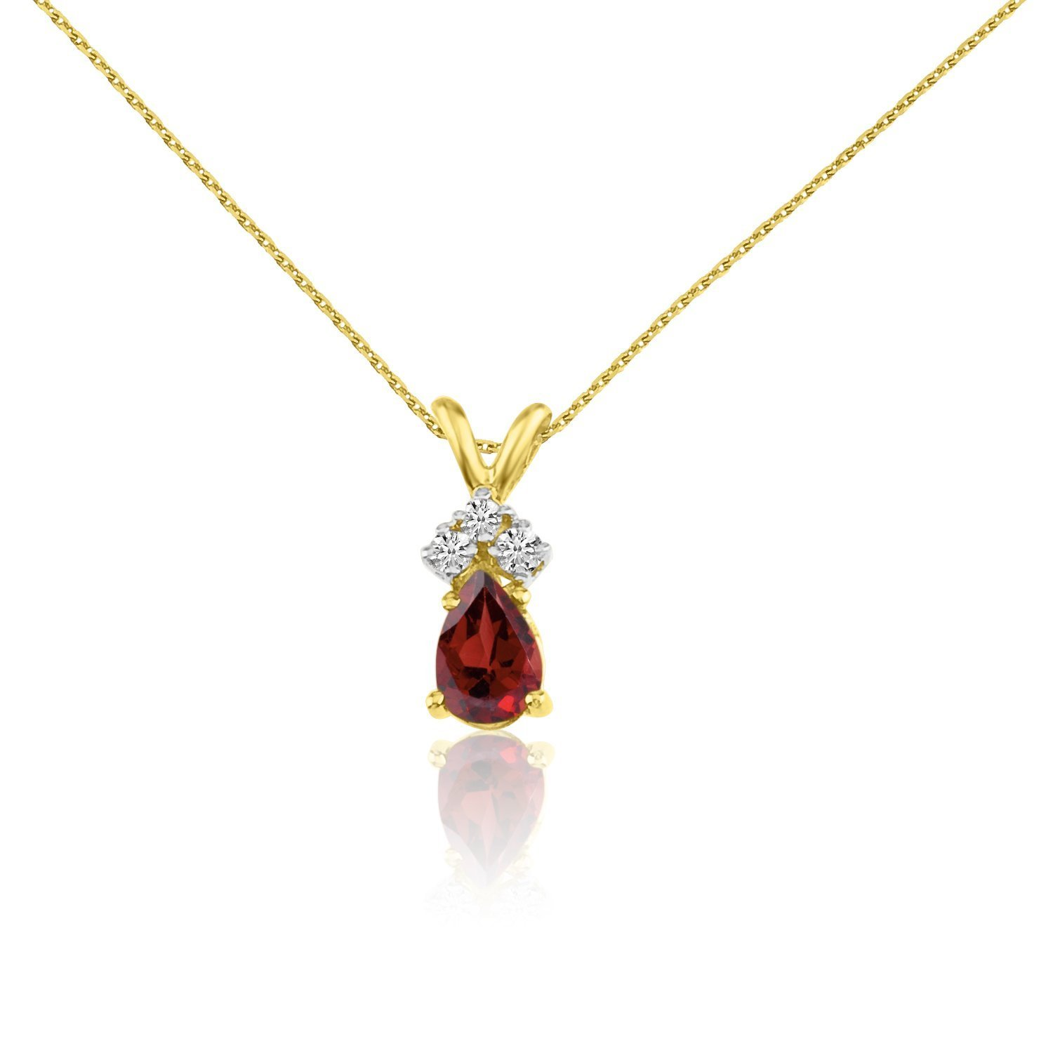 0.55 Cttw. FB Jewels Solid 14k Yellow Gold Genuine Birthstone Gemstone Pear Pendant with Diamonds