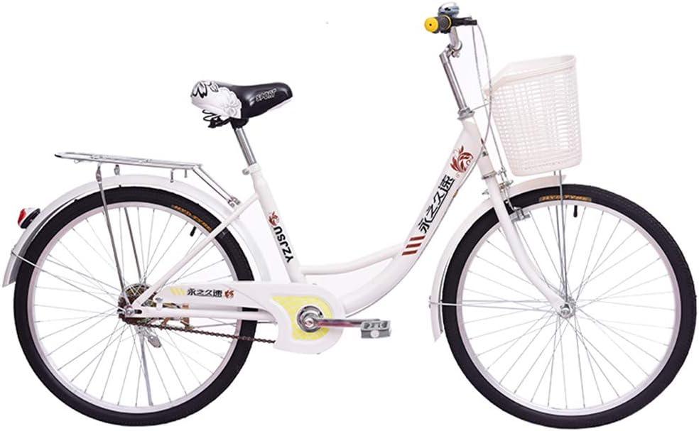 RLF - Bicicletas cómodas para mujer, 24 pulgadas, bicicleta urbana al aire libre, bicicleta de estudiante, Heritage clásica, estilo de vida y cesta, color marrón, color D, tamaño L: Amazon.es: Deportes y