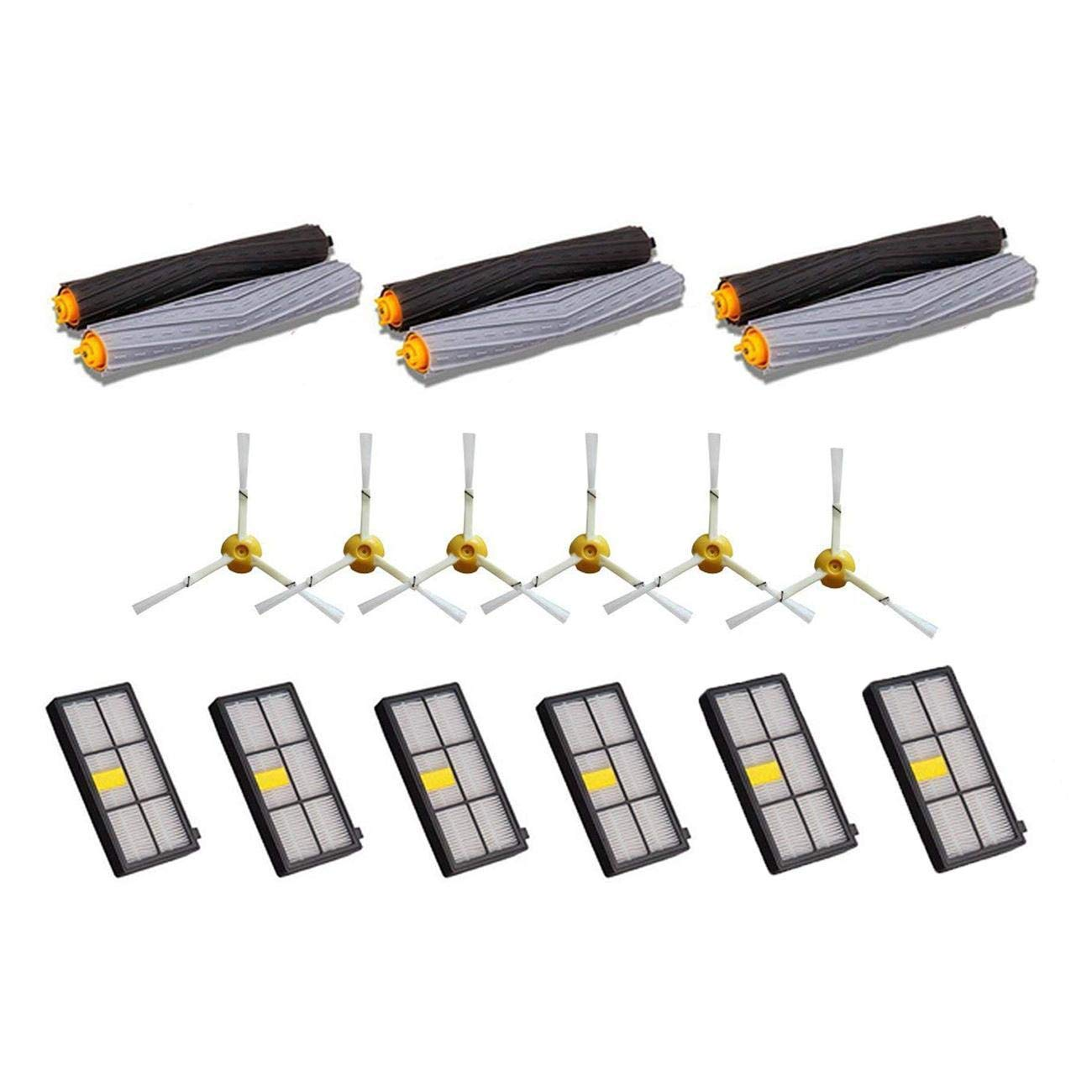 Luxuglow 6pcs Tangle-Free Debris Extractor + 6pcs Side Brush + 6pcs Filter for iRobot Roomba 800&900 Series 860 870 877 880 890 805 960 980 Vacuum Cleaning Robots Parts