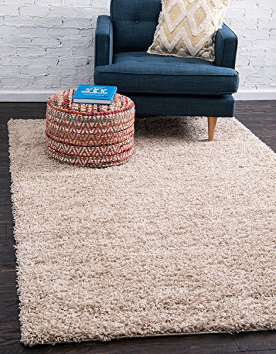 Beige Modern Rug - Unique Loom Solo Solid Shag Collection Modern Plush Taupe Rectangle (8' x 10')
