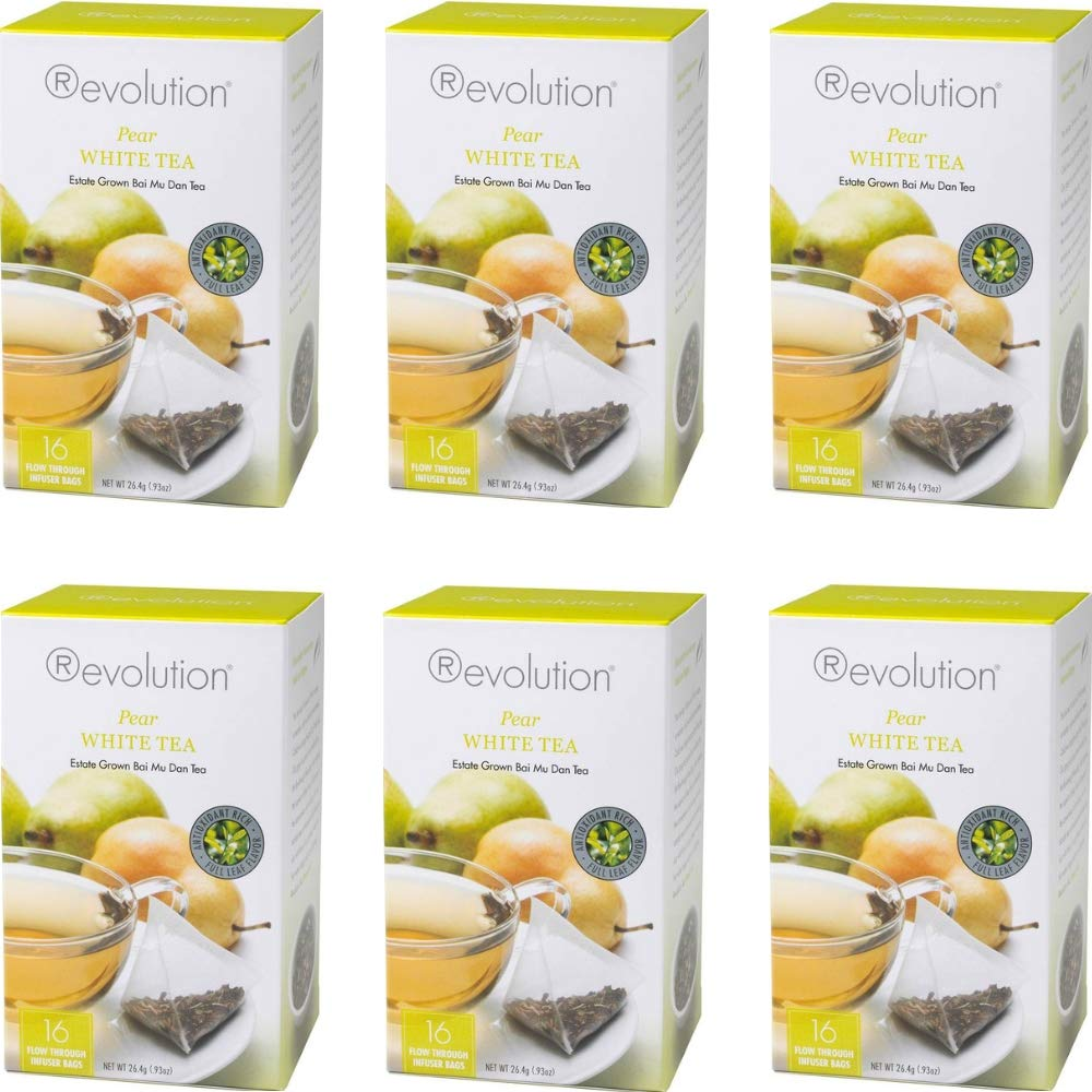 Revolution Tea, White Pear Tea, 16 Flow-through Infuser Bags in a Stay-Fresh Container (6 Pack)