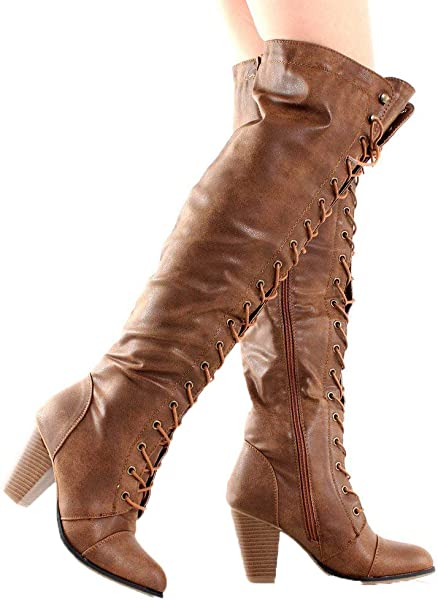 e42d5fead86 Camila-48 Womens Chunky Heel Lace Up Over The Knee High Riding Boots