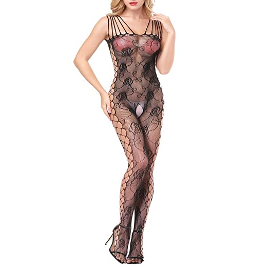 5727eeeaada Amazon.com: Sexy Lingerie for Women for Sex, Women's Fishnet Rose Strap  Crotchless Bodystocking Stretchy Elastic Tights Leotard Nightwear Open  Crotch Teddy ...