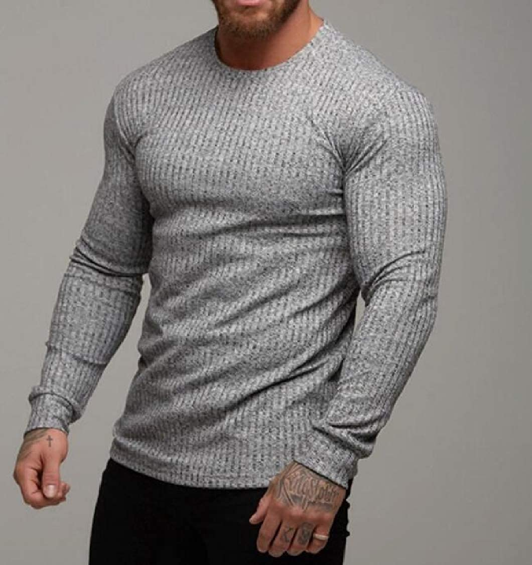 pipigo Men Slim Long Sleeve Pullover Round Neck Knits T-Shirt Top