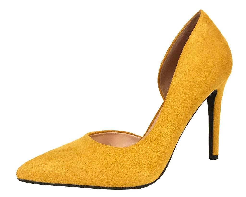 Lustacious Women's Classic Pointy Toe D'Orsay Dress Slip On Pumps, Zumba Mustard ISU 9 M US