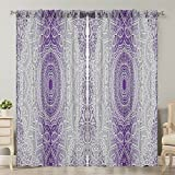 Moslion Window Curtain Grey Purple Ombre Mandala Holy Violet Window Curtains/Panels for Bedroom/Living Room Satin Drapes Light Reducing 2 Panels 108Wx84L Inch