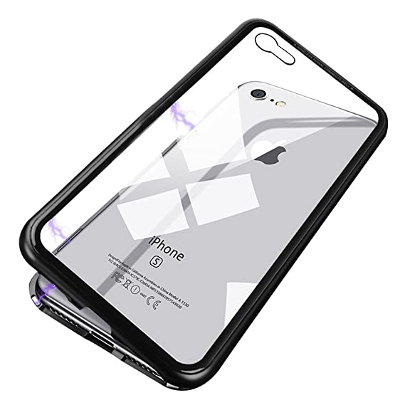 buy popular 323ff d544b iPhone 7 Case,iPhone 8 Case, RedHoney Magnetic Mobile Phone Case,  Ultra-Thin Magnetic Adsorption Metal Frame Tempered Glass Scratch-Resistant  Non-Slip ...