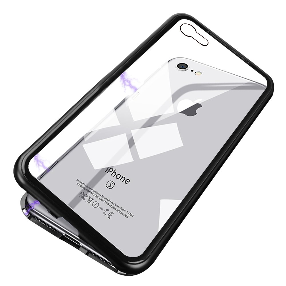 iPhone X Case, MFEEL Slim Fit Magnetic Adsorption Technology Metal Frame Tempered Glass Back Support Wireless Charging with Built-in Magnet Flip Cover for iPhoneX iPhone