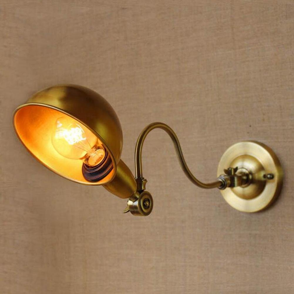 HELLEN WANG Decorative Wall Lamp RH Simple Vintage Bronze Rotate Left And Right E27 Bedroom Study Aisle, No Light Bulb