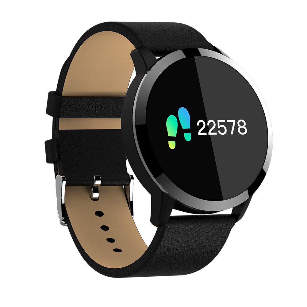 MeterMall WQ8 Smart Heart Rate Blood Pressure Monitor Color Screen IP68 Deep Waterproof Useful Watch for Adults, Children, The Old, Businessmen etc. Black