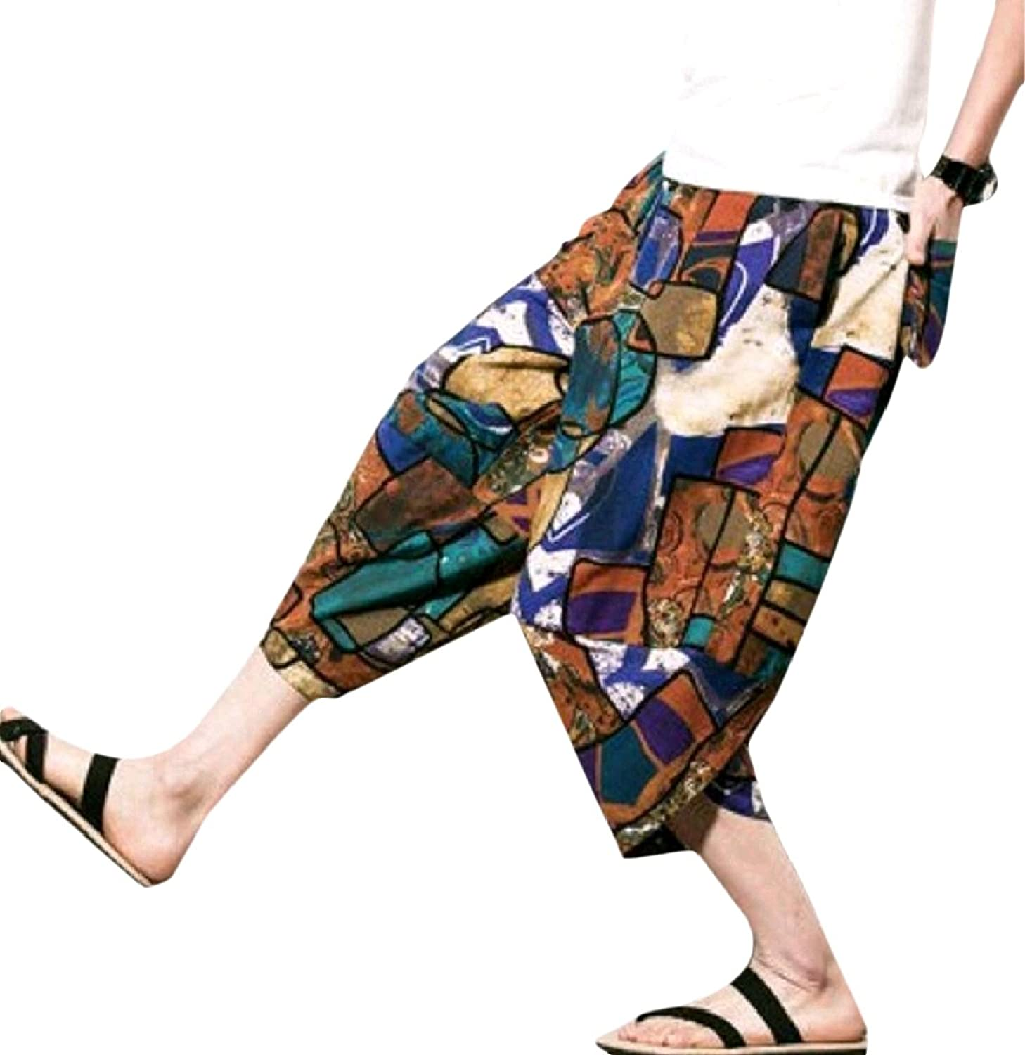 Hot Comfy-Men 3/4 Fashion Linen Chinese Style Shorts Casual Baggy Pants supplier