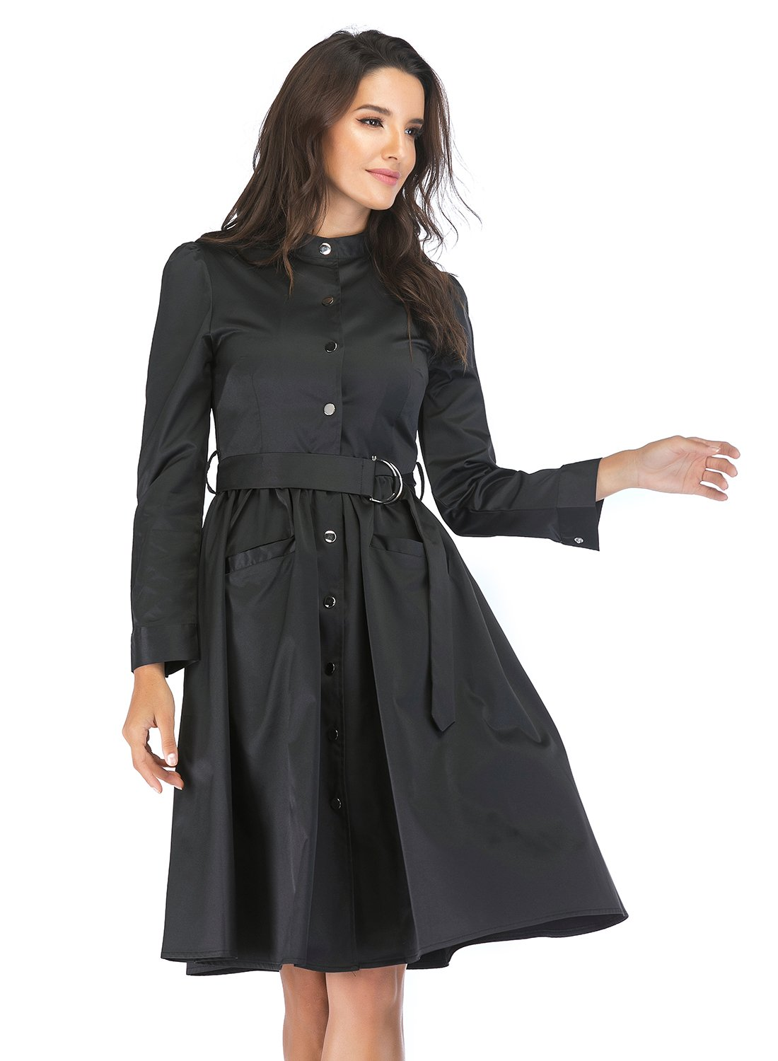 Lefancy Women's Mock Neck Long Sleeves Button Down Belted Mid Length Casual A-line Dress with Pockets (S, Black)