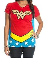 DC Comics Wonder Woman Glitter Juniors Red V-neck Cape Tee