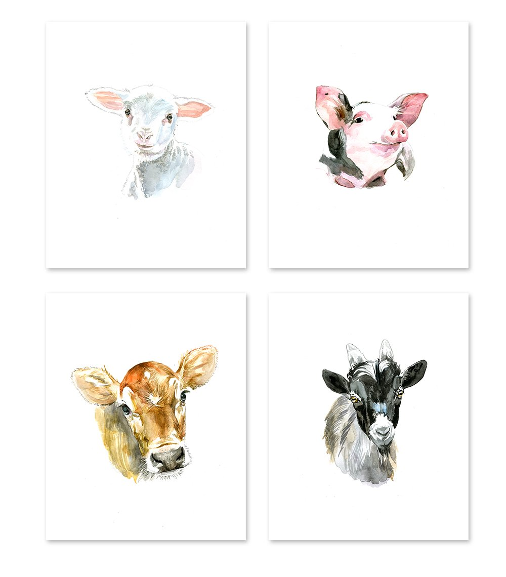 AtoZStudio A22 Farm animal prints - set of 4. Nursery Wall Art Decor Posters - Baby Animals Pig Cow Goat Sheep - Colorful Watercolor Painting (8x10) by AtoZStudio