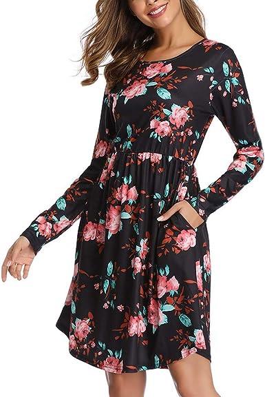 Vectry Moda Mujer Casual Sólido O-Cuello Manga Larga A-Line Bolsillos Blusa De Algodón Vestido Mujer Vestido Casual Vestido De Cóctel Vestido Largo: Amazon.es: Ropa y accesorios