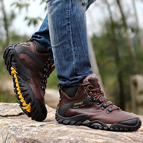 Warm Top Shoes Gomnear Non Climbing Hiking Sneaker Men Dark Trekking Brown Winter Boots High Fur slip Lined Outdoor CFPtwq
