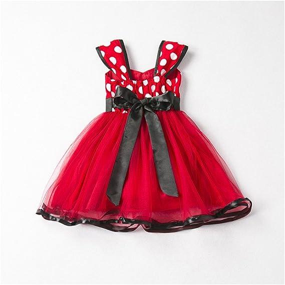 FCQNY Mornyray Vestido de tutú de Tul con Lunares para niñas ...