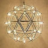 Tropicalfan Modern Spherical Stainless Steel Pendant Spark Chandelier Little Shining Star Creative Ceiling Light With 42 LED Light Beads 15.75 Inch For Living Room Mall