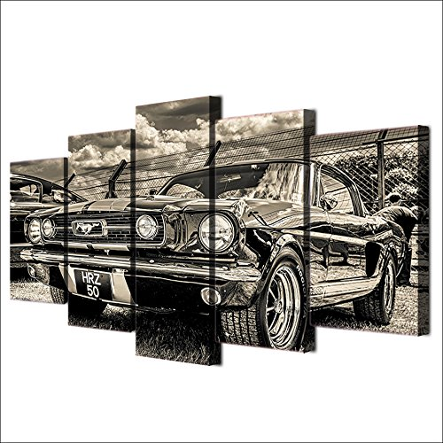 NATVVA Modular HD Print Artwork Modern Sports Car Poster Home Decor Wall Art 5 Pieces Pictures 1965 Ford Mustang Canvas Painting