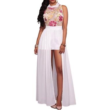 Red Dot Boutique 8038 - Plus Size Sheer Mesh Embroidery Chiffon Hi Low Maxi Dress